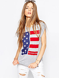 cheap -Adults' Women's Cosplay American Flag T-shirt For Halloween Daily Wear Cotton Independence Day T-shirt