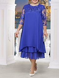cheap -A-Line Jewel Neck Ankle Length Chiffon / Lace 3/4 Length Sleeve Plus Size Mother of the Bride Dress with Appliques / Tier 2020