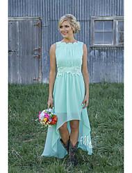 cheap -A-Line Jewel Neck Asymmetrical Chiffon Bridesmaid Dress with Appliques / Lace / High Low
