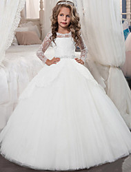 cheap -Princess Floor Length Christmas / Birthday / First Communion Flower Girl Dresses - Chiffon / Lace / Tulle Long Sleeve Jewel Neck with Lace / Crystals / Rhinestones