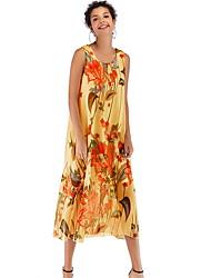 cheap -Women's Yellow Blue Dress Boho Swing Floral Print M L