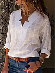 cheap -Women's Casual / Daily Basic / Street chic Cotton Loose T-shirt - Solid Colored V Neck Blushing Pink