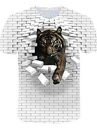 cheap -Men's Club Beach Street chic / Exaggerated EU / US Size T-shirt - Color Block / 3D / Animal Print Round Neck White / Short Sleeve