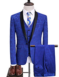cheap -Tuxedos Standard Fit Shawl Collar Single Breasted One-button Polyester / Cotton Blend / Polyster Floral / Botanical