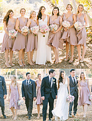 cheap -A-Line Plunging Neck Knee Length Chiffon Bridesmaid Dress with Tier / Ruching / Ruffles