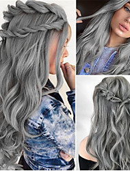 cheap -Synthetic Wig Water Wave Middle Part Wig Long Grey Synthetic Hair 26 inch Women's  Dark Gray Party Fesitival