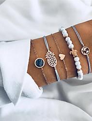 cheap -5pcs Women's White Turquoise Charm Bracelet Vintage Bracelet Braided Maps Heart Turtle Classic Bohemian Sweet Stone Bracelet Jewelry Gold For Party Gift