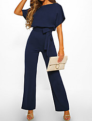 cheap -Women's Chic & Modern Casual Daily Going out Black Blue Red Jumpsuit Belted