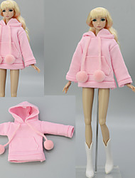 cheap -Doll Coat Tops For Barbiedoll Pink Elastic Satin Poly / Cotton Lace Top For Girl's Doll Toy