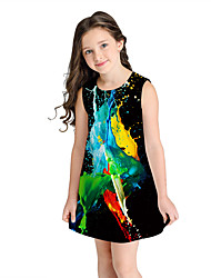 cheap -Kids Girls' Sweet Cute Geometric Short Sleeve Above Knee Dress Black / Cotton