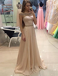 cheap -A-Line Jewel Neck Sweep / Brush Train Chiffon Elegant / Pastel Colors Formal Evening Dress with Crystals 2020