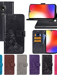 cheap -Case For Motorola MOTO One Power / MOTO P30 Play / MOTO P40 Wallet / with Stand / Flip Full Body Cases Solid Colored / Butterfly / Flower Hard PU Leather