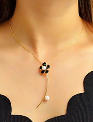 Недорогие -Жен. Ожерелья с подвесками Цветочный Цветы лакомство Милая Мода Элегантный стиль Искусственный жемчуг Хром Белый Черный Светло-лиловый 40 cm Ожерелье Бижутерия 1шт Назначение