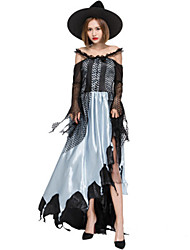 cheap -Witch Dress Cosplay Costume Masquerade Adults' Women's Party / Evening Halloween Christmas Halloween Carnival Festival / Holiday Satin / Tulle Lace Black Carnival Costumes Patchwork Holiday Halloween
