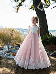 cheap -Princess Floor Length Party / Birthday / Pageant Flower Girl Dresses - Tulle / Cotton Sleeveless Jewel Neck with Lace / Belt / Appliques