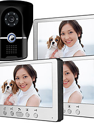 cheap -815FG13 Ultra-thin 7-inch wired video doorbell HD villa one for three visual intercom outdoor unit night vision rain unlock function