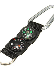 cheap -3 in 1 Survival Keychain Ring Camping Buckle Compass Thermometer Multifunctional