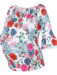 cheap -Women's Casual / Daily Basic Maternity Cotton T-shirt - Floral / Geometric Print Rainbow