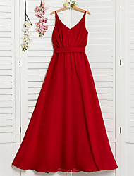 cheap -A-Line Spaghetti Strap Floor Length Chiffon Junior Bridesmaid Dress with Sash / Ribbon / Ruching