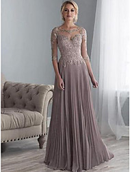 cheap -A-Line Jewel Neck Floor Length Chiffon Elegant Formal Evening Dress 2020 with Appliques / Draping