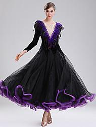 cheap -Ballroom Dance Dresses Women's Performance Spandex Feathers / Fur / Split Joint / Crystals / Rhinestones Long Sleeve Dress