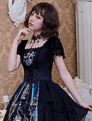 cheap -Artistic / Retro Gothic Punk & Gothic Dress All Velvet Chiffon Japanese Cosplay Costumes Black Print Skull Devil Butterfly Sleeve Short Sleeve Knee Length Medium Length
