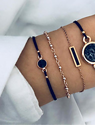 cheap -4pcs Women's Pendant Bracelet Layered Sun European Casual / Sporty Ethnic Fashion Alloy Bracelet Jewelry Black For Daily Street Holiday Work