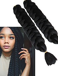 cheap -Jumbo Crochet Hair Braids Synthetic Extentions Straight Box Braids Natural Color Synthetic Hair Braiding Hair 3 Pieces Heat Resistant