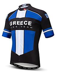 cheap -21Grams Greece National Flag Men's Short Sleeve Cycling Jersey - Sky Blue+White Bike Top UV Resistant Breathable Moisture Wicking Sports Terylene Mountain Bike MTB Road Bike Cycling Clothing Apparel