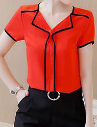 cheap -Women's Casual Basic T-shirt - Solid Colored Shirt Collar Black