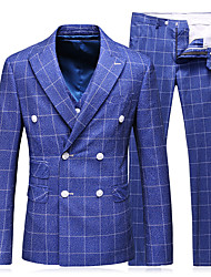 cheap -Tuxedos Standard Fit Peak Polyester / Cotton Blend / Polyster Plaid / Check