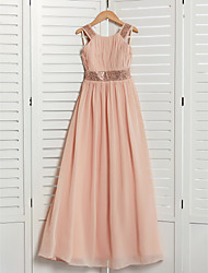 cheap -A-Line Jewel Neck Maxi Chiffon Junior Bridesmaid Dress with Lace / Sash / Ribbon