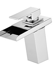 cheap -Bathroom Sink Faucet - Waterfall / LED Chrome Centerset Single Handle One HoleBath Taps