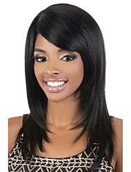 cheap -Human Hair Wig Medium Length kinky Straight Natural Straight Bob Asymmetrical Side Part Black / Blonde Fashionable Design Adjustable Easy to Carry Capless Women's All Natural Black 14 inch