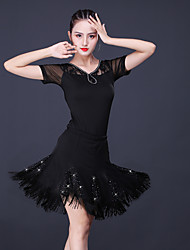 cheap -Latin Dance Skirts Lace Glitter Tassel Women's Training Performance Short Sleeve High Lace Milk Fiber Polyester