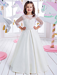 cheap -Princess Floor Length Wedding / Birthday / First Communion Flower Girl Dresses - Cotton / nylon with a hint of stretch / Lace / Mikado 3/4 Length Sleeve Jewel Neck with Lace / Appliques