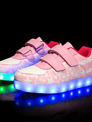 cheap -Girls USB Charging  LED / Comfort PU Sneakers Running Shoes Blue / Pink / Dark Blue Spring