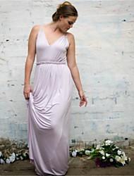 cheap -A-Line V Neck Floor Length Jersey Bridesmaid Dress with Sash / Ribbon