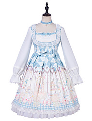 cheap -Artistic / Retro Princess Lolita Cute Dress Cosplay Costume Halloween Props Party Costume All Velvet Chiffon Japanese Cosplay Costumes Light Blue Print Bowknot Lace Bishop Sleeve Long Sleeve Knee