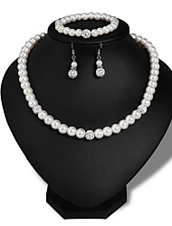 cheap -Women's Pearl Bridal Jewelry Sets Retro Love Stylish Elegant Cute Imitation Pearl Earrings Jewelry Silver For Wedding Party Daily 1 set