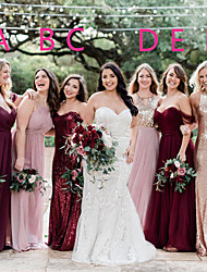 cheap -A-Line Halter Neck / Off Shoulder Floor Length Chiffon / Sequined Bridesmaid Dress with Sequin / Ruching