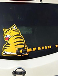 cheap -Cartoon Funny Cat Moving Tail Car Stickers Reflective Vinyl Car Window Wiper Decals