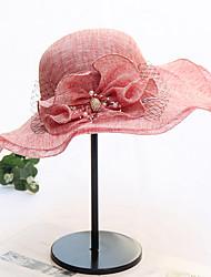 Недорогие -Жен. Активный Классический Симпатичные Стиль Шляпа от солнца Сетка,Контрастных цветов Цветочный принт Весна Лето Серый Светло-зеленый Винный