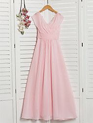 cheap -A-Line V Neck Floor Length Chiffon Junior Bridesmaid Dress with Ruching / Ruffles / Wedding Party