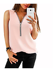 cheap -Women's Daily Slim Tank Top - Solid Colored Chiffon / Zipper / Fashion V Neck Red / Spring / Summer / Fall
