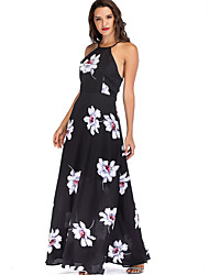 cheap -Women's Maxi Black Dress Basic Elegant Sheath Swing Floral S M