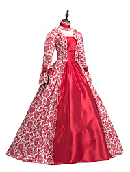 cheap -Princess Maria Antonietta Floral Style Rococo Victorian Renaissance Dress Party Costume Masquerade Women's Lace Costume Red Vintage Cosplay Christmas Halloween Party / Evening 3/4 Length Sleeve Floor