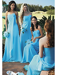 cheap -A-Line Strapless Floor Length Chiffon Bridesmaid Dress with Tier