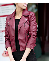 cheap -Women's Daily / Going out / Work Street chic / Punk & Gothic Spring / Fall Short Leather Jacket, Solid Colored Shirt Collar Long Sleeve PU Black / Wine