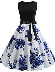 cheap -Women's Blue Dress Vintage A Line Floral Patchwork Print S M